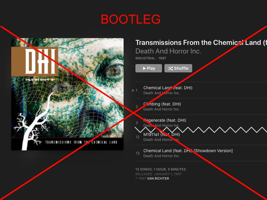 DHI (death and horror inc) Transmissions From The Chemical Land bootleg