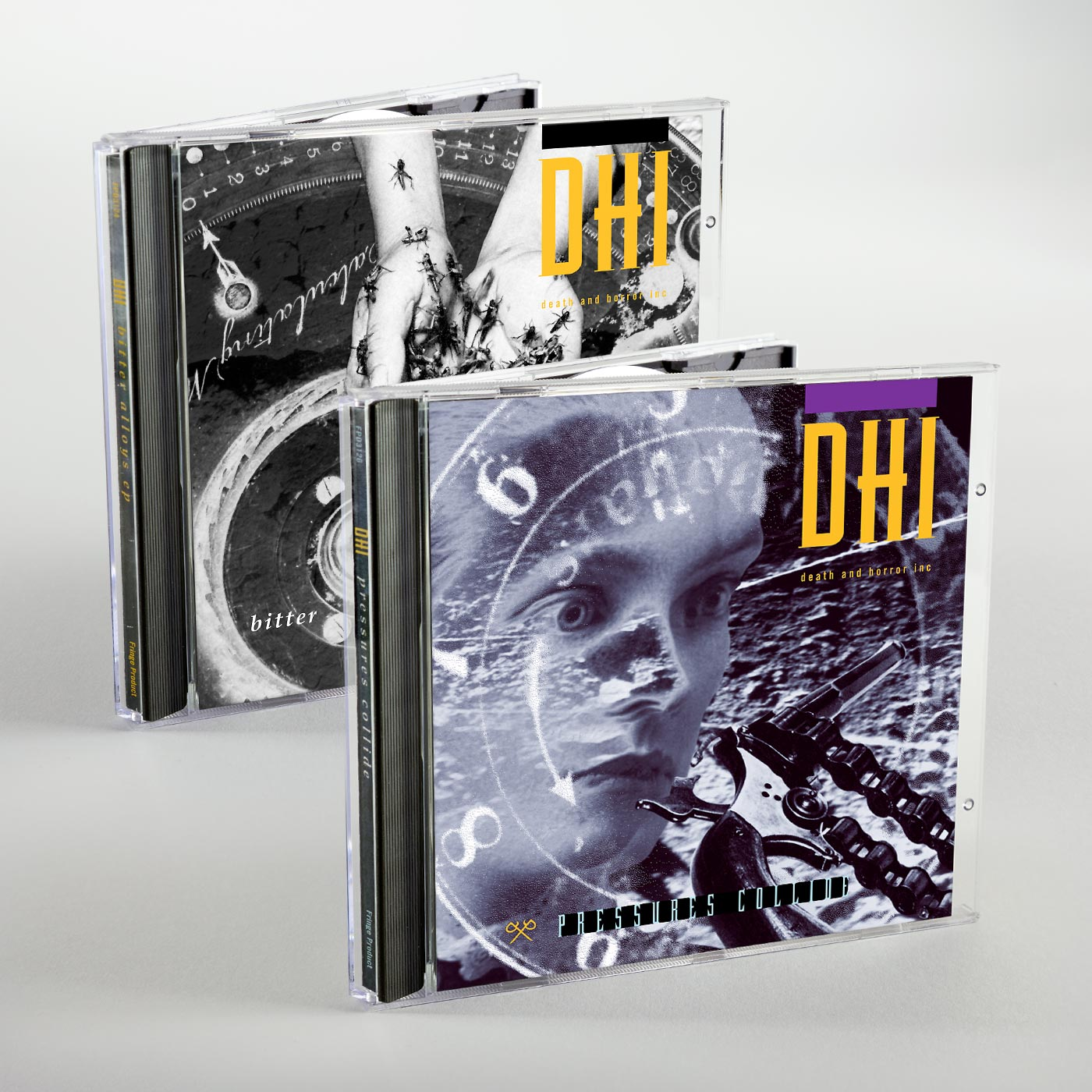 DHI (death and horror inc) Pressures Collide CD and Bitter Alloys CD jewel cases