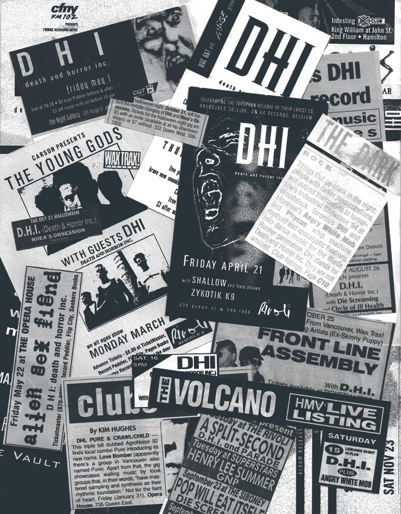 DHI (death and horror inc) concert flyers and ads, featuring Front Line Assembly, The Young Gods, and more.