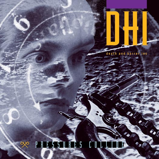 The cover of the Pressures Collide CD by DHI (death and horror inc).